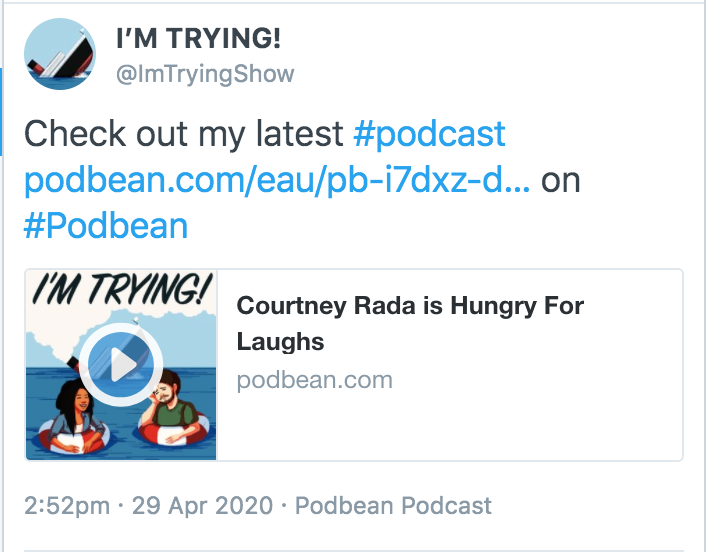 Tweet about new podcast
